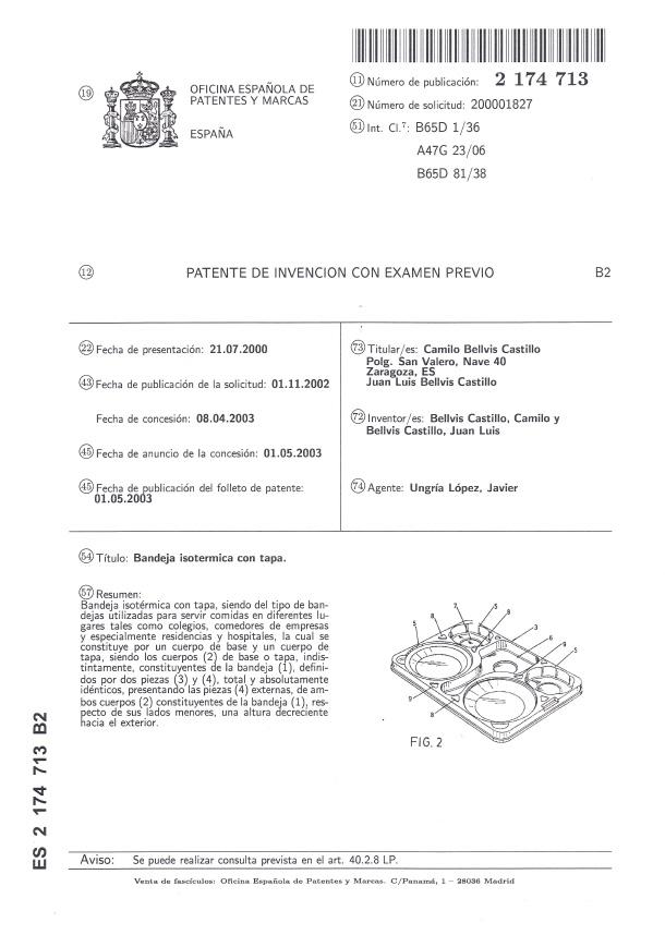 Patente Bandeja Isotermica B1 CBC Bellvis