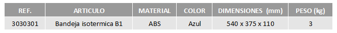 Tabla bandejas isotérmicas B1 CBC Bellvis