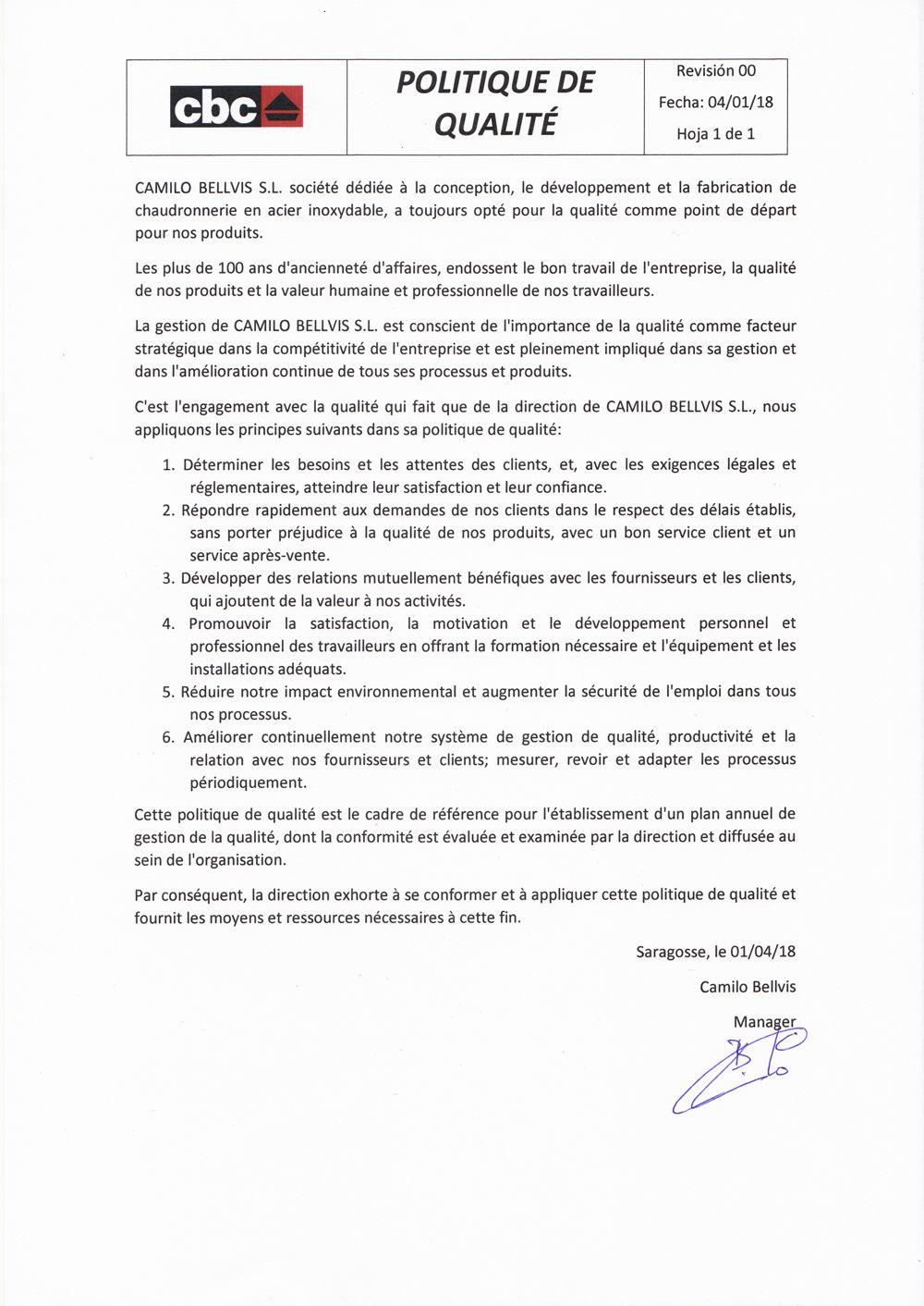 política de calidad en francés