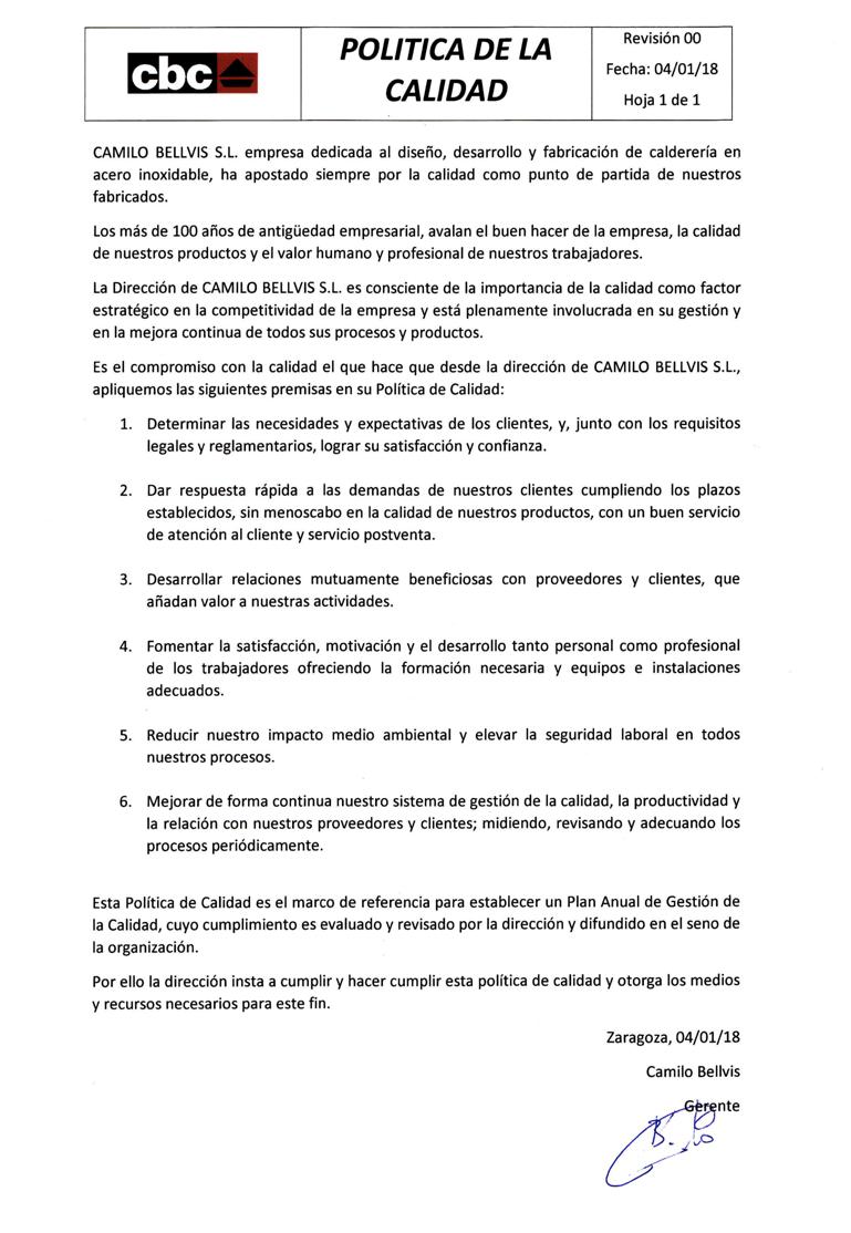 política de calidad en español