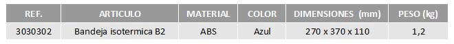 Tabla bandejas isotérmicas B2 CBC Bellvis